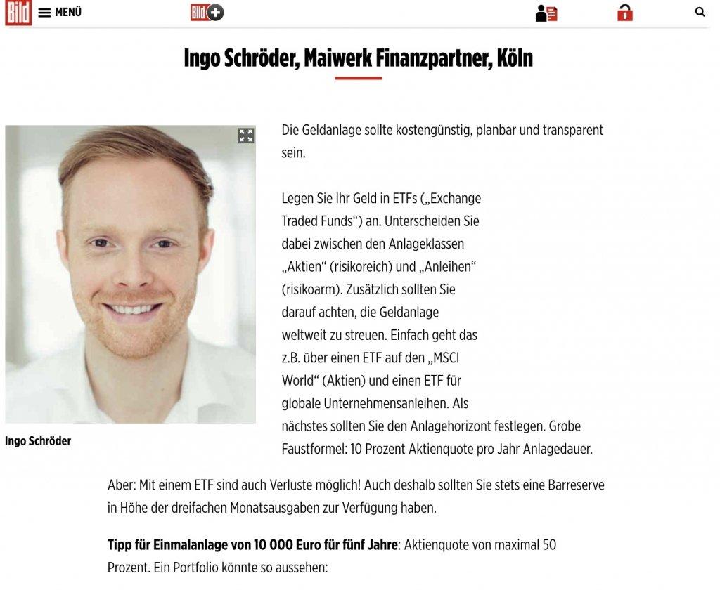 ETF Portfolio - do it yourself - Empfehlung aus der BILD Zeitung - Teil 1